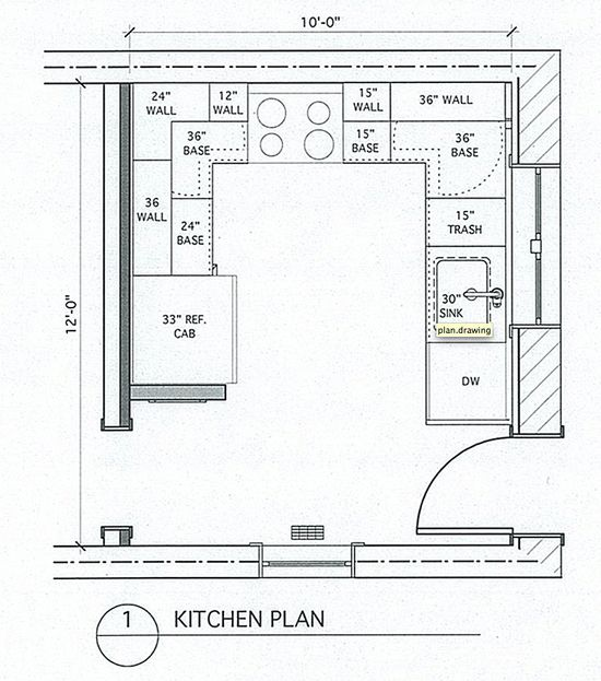 Kitchen Plans For Small Houses: Small U Shaped Kitchen With Island And Table Combined