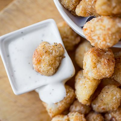 Cauliflower Poppers with Creamy Buttermilk Ranch Dipping Sauce