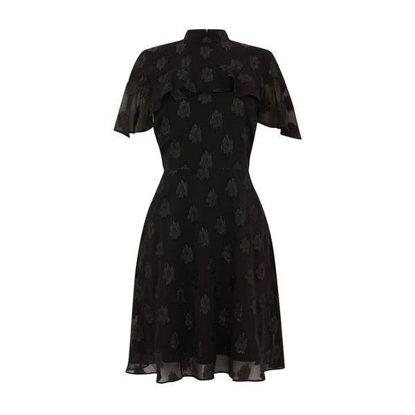 Warehouse Warehouse Soft Lurex Jacquard Dress Size 6 ($78) ❤ liked on Polyvore featuring dresses, black, high-neck dresses, jacquard dress, sparkly dresses, jacquard fabric dress and mixed pattern dress