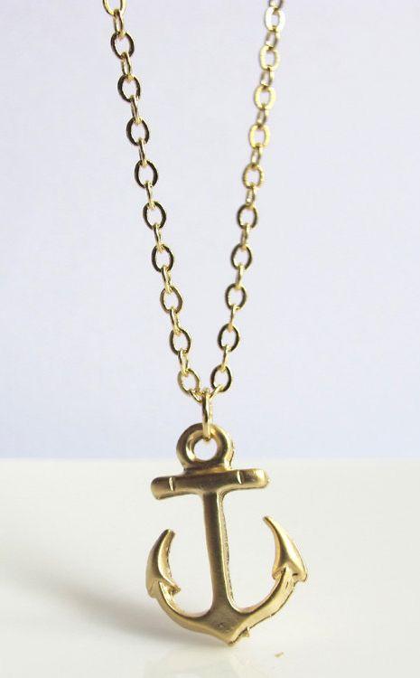 Nautical gold anchor Necklace