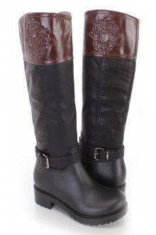 Preto Brown Croc pele texturizados equitação botas de couro falso