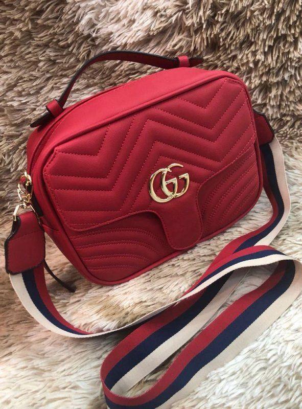 Bolsa Gucci Smart Bag Marmont – Vermelha – Alça Colorida em 2019 ... 530aed0b4ab