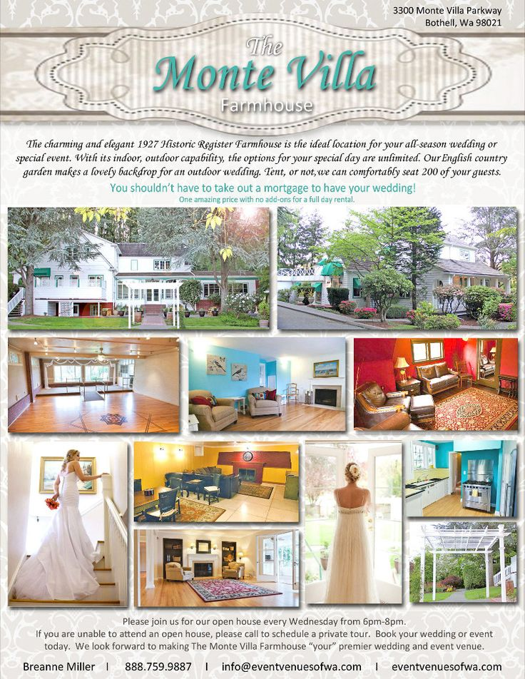 The Monte Villa Farmhouse for weddings!