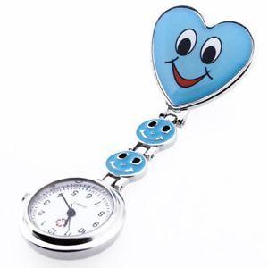 a azul cuarzo movimiento clip broche de enfermera fob tunica reloj cara sonrisa ac