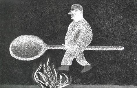 """Riding Around on a Cooking Spoon"" by David Hockney from ""Grimm's Fairy Tales"", 1969 (etching and aquatint)"