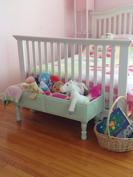 Toy box made from a dresser drawer. Great idea.