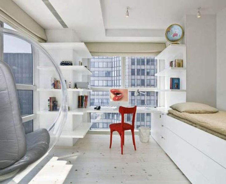 Small New York Studio Apartment White Style With Red Chair And Globe ~  Http:/