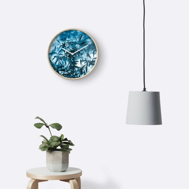 Olive tree leaves silhouette summer blue wall clock by #PLdesign #summer #tree #blue #redbubble