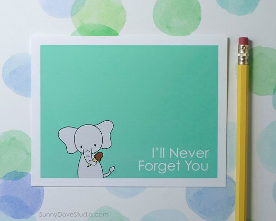 Cute Goodbye Card Elephant Farewell Leaving I'll Never ...