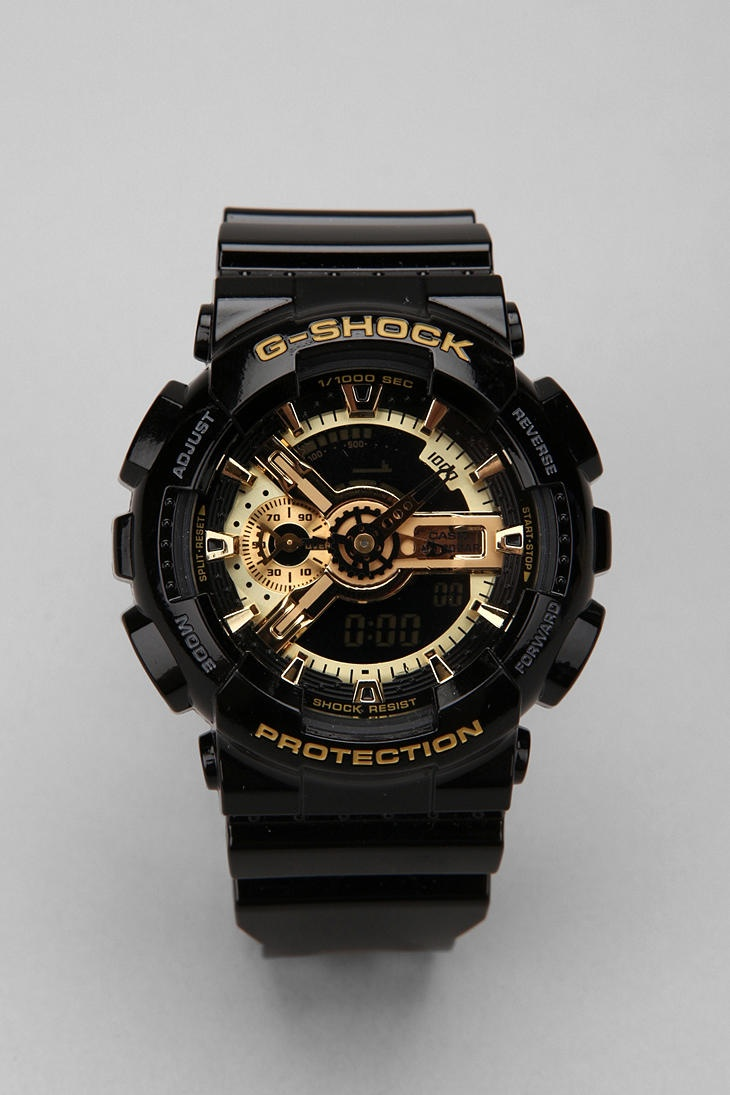 G-Shock Black And Gold GA110 Watch. PRS is a licensed carrier of G-Shock watches!