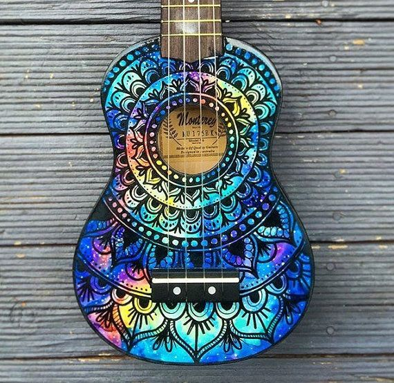 Made to order hand painted ukulele. This listing is for a hand painted ukulele with a galaxy/nebula & mandala design on the front. Each one will