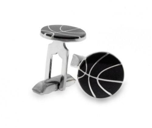 Bling Onyx Sterling Silver Mens Basketball Cufflinks