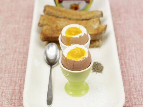 Boiled eggs with dippy soldiers.  NOT a fan of the full English... but this looks fun!