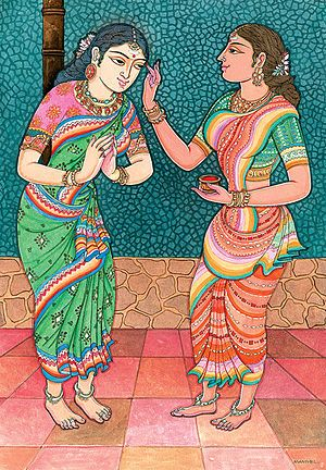 Woman applies red powder onto the forehead of ... Rukmini brings on The Soul Bistro - The Indian Namaste
