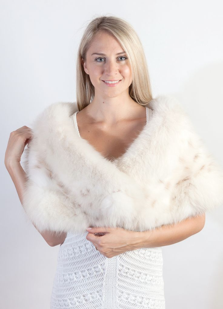 Fascinating and luxury natural lynx fox fur stole. This real fur stole is crafted with genuine lynx fox fur that is extremely soft and will give you a velvet-like feel. Naturally spotted fur stole, handmade in Italy.  www.weddingfur.com