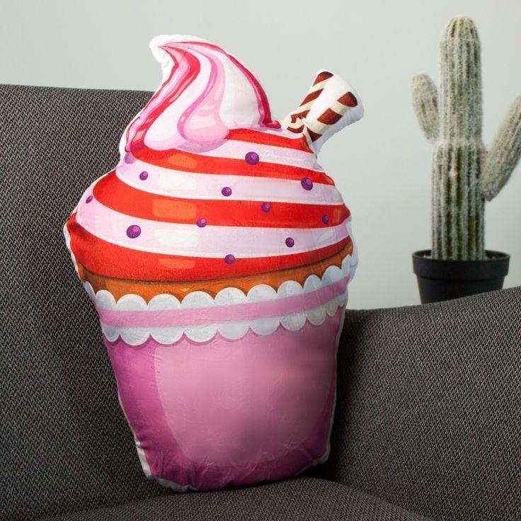 Cupcake kussen - Roze  Description: Decoratief cupcake kussen voor je bank of bed. Verkrijgbaar in roze kleur. Met leuke details zoals een topping van slagroom koek chocolade en een strikje. De kussens hebben zachte zoete pastelkleuren en zijn gemaakt van heerlijk zacht materiaal. Leuk om te zien en lekker om op te zitten of liggen. Geschikt voor de woonkamer slaapkamer. Ook leuk voor de logeerkamer of kinderkamer. Het cupcake kussen is 43 x 45 x 15 cm groot en weegt 480 gram.  Price: 11.95…