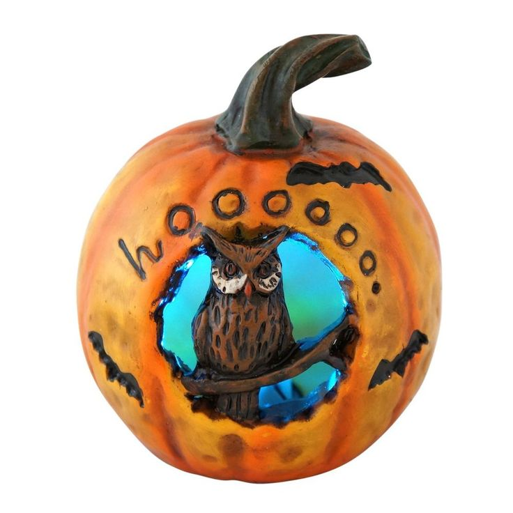 Lighted Color Changing Pumpkin With Owl Halloween Trick Or Treat Decoration New