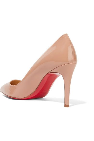 Christian Louboutin - Pigalle 85 Patent-leather Pumps - Beige