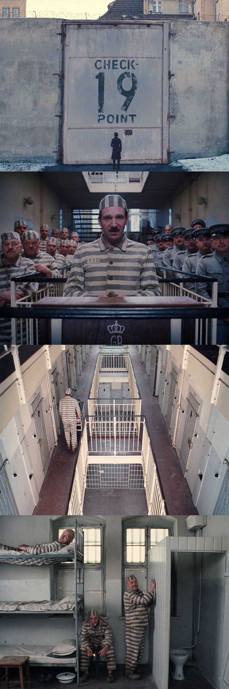 Prison scenes from The Grand Budapest Hotel. Cinematography by Robert Yeoman.