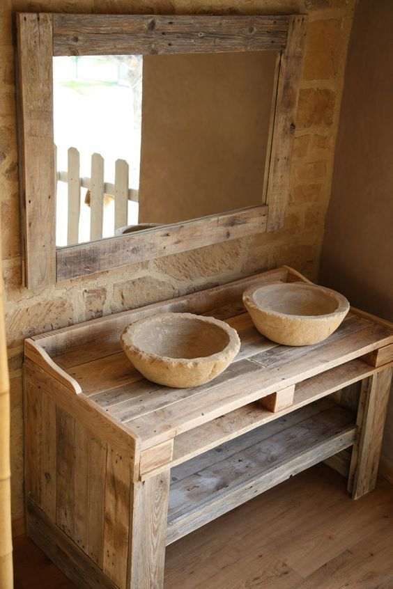 BATHROOM CABINET made from recycled pallet wood with washbasins in imitation stone and MIRROR. Handmade