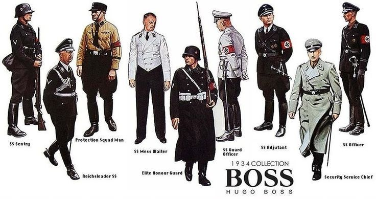1934 collection of nazi uniforms from Hugo Boss. Boss claimed in a 1934/1935 advertising he had been a supplier for Nazi uniforms since 1924, when he became an Reichszeugmeisterei-licensed (official) supplier of uniforms to the Sturmabteilung, Schutzstaffel, Hitler Youth, National Socialist Motor Corps and other party organizations.