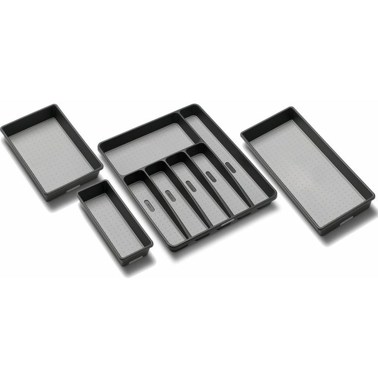 6 Compartment Kitchen Storage Idea Silverware Tray Organize 4-Piece Drawer Set  #Madesmart