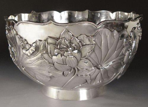 Silver Punch Bowl - Arthur & Bond Yokohama silver from store: Flyingcranesantiques
