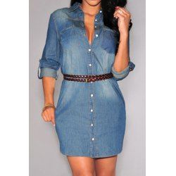 Stylish Shirt Collar Long Sleeve Single-Breasted Denim Women's Dress
