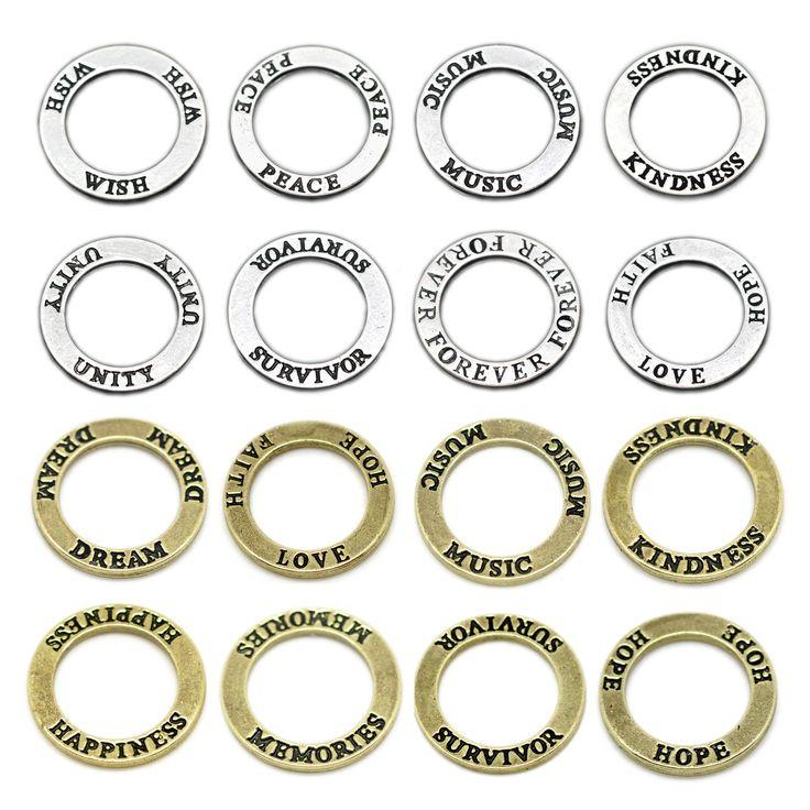 1/18 XL Ring Verbinder 22mm silber bronze Anhänger LOVE HOPE FAITH JOY | Anhänger bis 25mm | Anhänger | Bacabella Perlen und Schmuckzubehör
