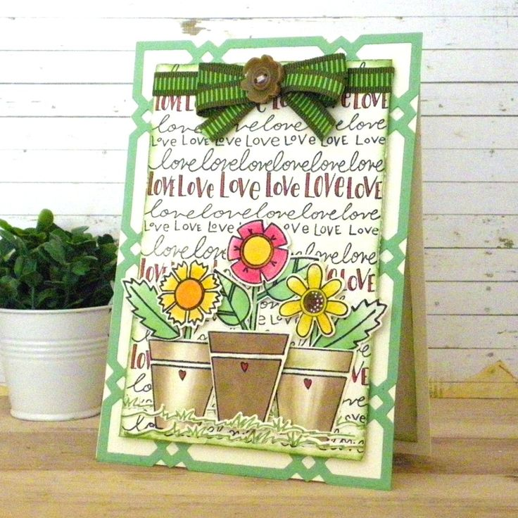 Posey Love card by Linda Lucas featuring stamps and die by Tammy Tutterow for Spellbinders.