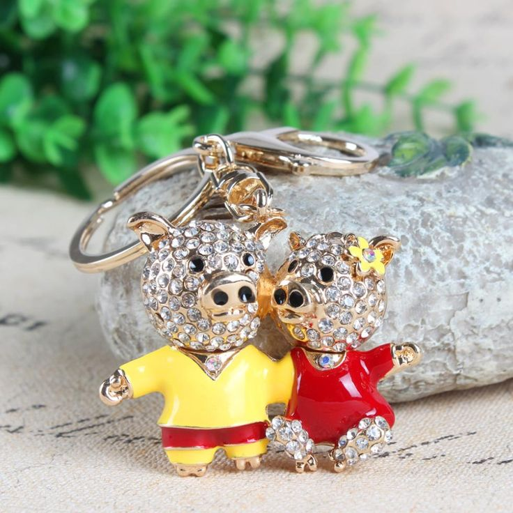 Lovely Double Lover Pig Flower Crystal Rhinestone Charm Pendant Purse Bag Car Key Ring Chain Creative Wedding Valentine's Gift //Price: $5.95 & FREE Shipping //     #hashtag4