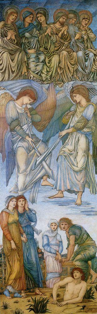 The Last Judgment Panel 1 by Edward Burne-Jones, Wax Crayon