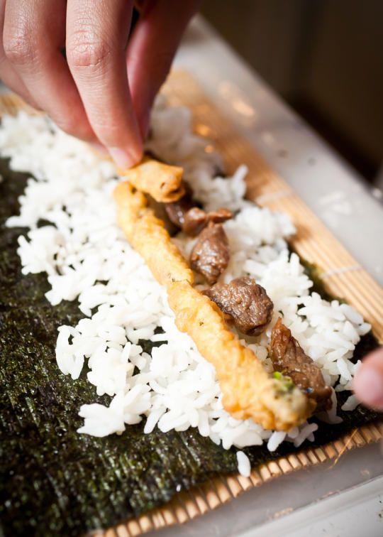 """Man Sushi"" teriyaki beef and tempura asparagus with spicy mayo."