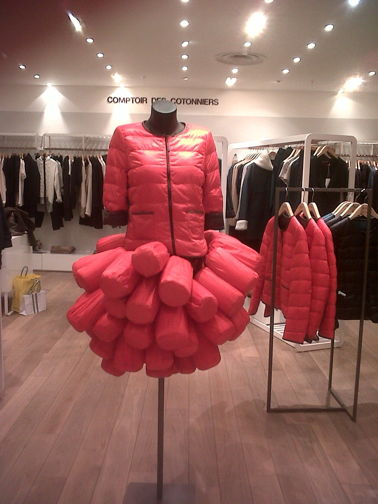 Harvey Nichols - Padded red coat & skirt abstract all in one.