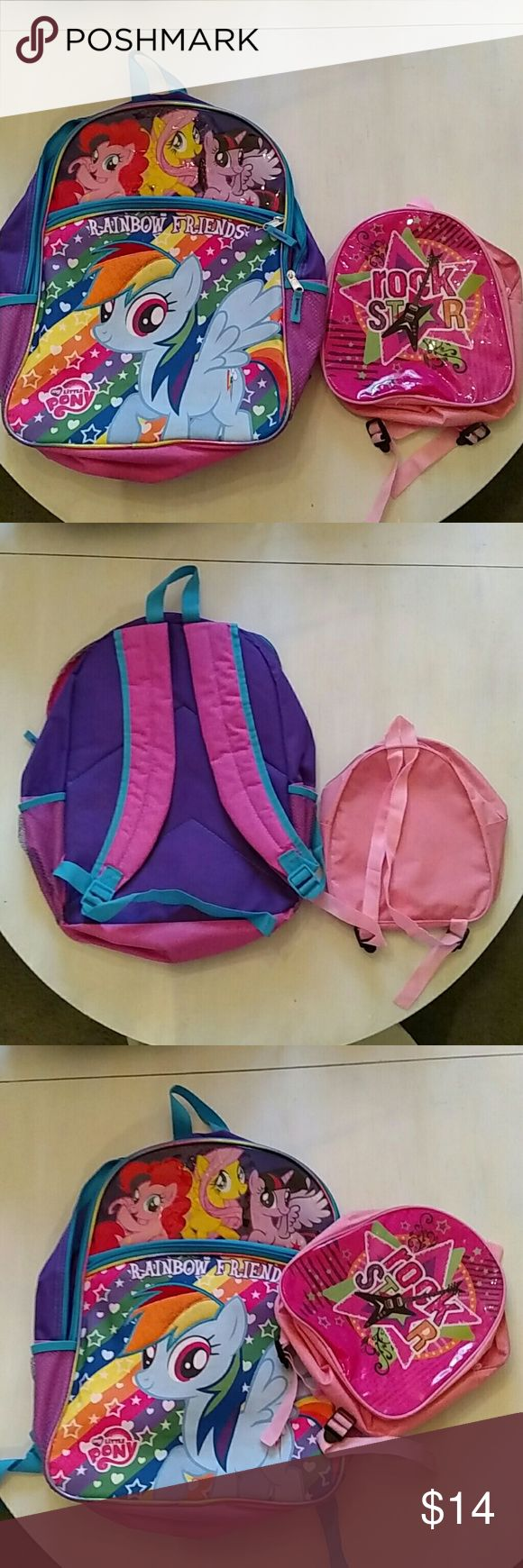NWOT My little pony and mini rock star backpacks 2 backpacks - full size my Little pony and mini rock star.  Both NWOT My Little Pony Other