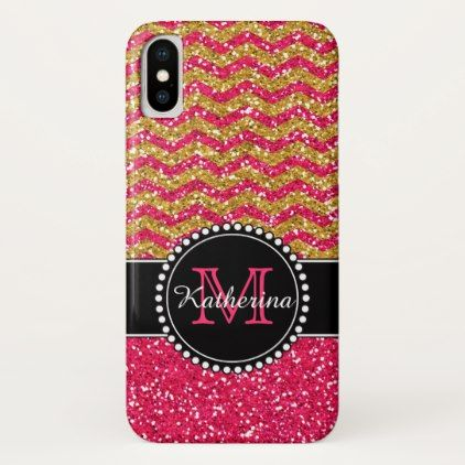 Gold & Pink Glitter Chevron Monogrammed iPhone X Case - girly gift gifts ideas cyo diy special unique