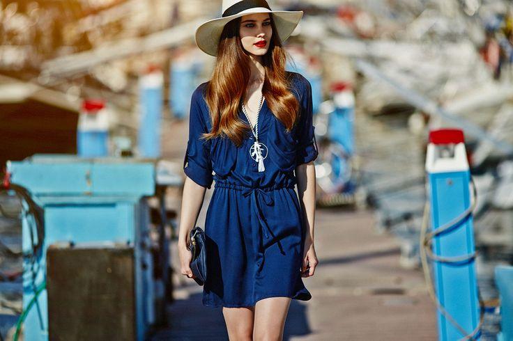 navy blue buttoned mini dress