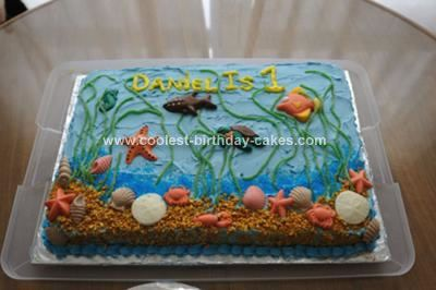 Homemade First Birthday Ocean Cake: This homemade first birthday ocean cake was made for my friends son's first birthday.  The theme was under the sea.  I made a 12x18x2 inch sheet cake.
