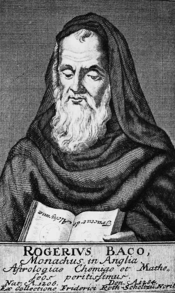 c1754: Roger Bacon (c1214–94), English experimental scientist, philosopher and Franciscan. Copperplate engraving. (Photo by Universal History Archive/Getty Images)
