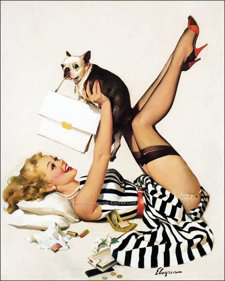 Boston Terrier Card - Elvgren Pinup Girl Plays w Dog. $2.75, via Etsy.