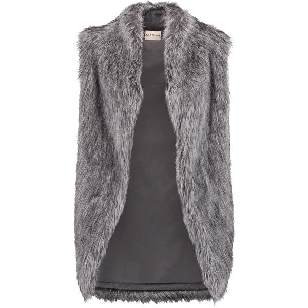 DKNY Faux fur vest (£128) ❤ liked on Polyvore featuring outerwear, vests, dark gray, vest waistcoat, open front vest, faux fur waistcoat, fake fur vests and dkny