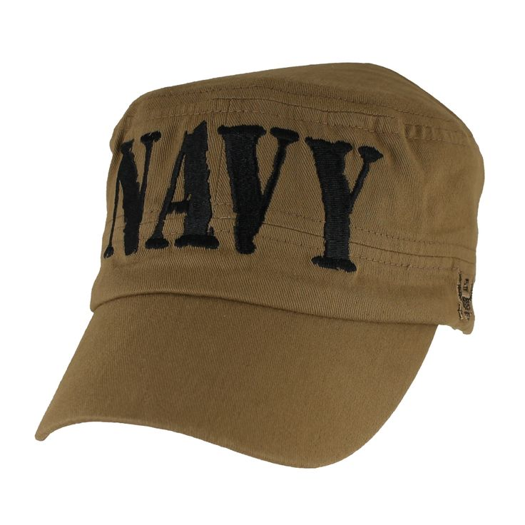 Please enjoy this officially licensed US Navy Flat Top Coyote Brown Ball Cap. This cap is constructed with 6 panels and is 100% cotton. This cap is one size fits most and can be adjusted with a velcro strap in the back. Usually ships within 1 - 5 business days.