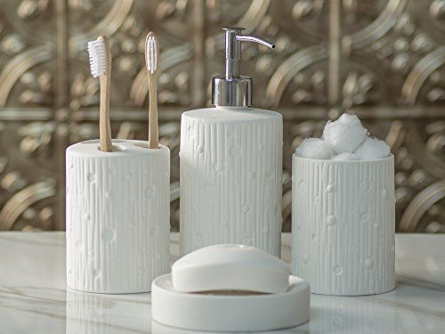 Designer 4-Piece Ceramic Bath Accessory Set Includes Liquid Soap or Lotion Dispenser w/ Premium Metal Pump, Toothbrush Holder, Tumbler, Soap Dish | Modern Concrete | Alpine White -The perfect blend of elegant luxury design, high-quality materials, and superior functionality.  Elegant looks with superior performance and quality