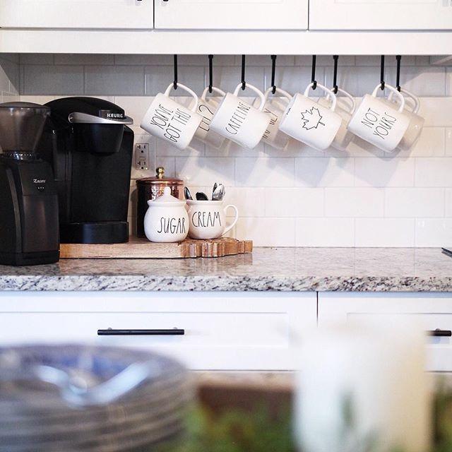 coffee bar, coffee station, rae dunn display, coffee mugs.