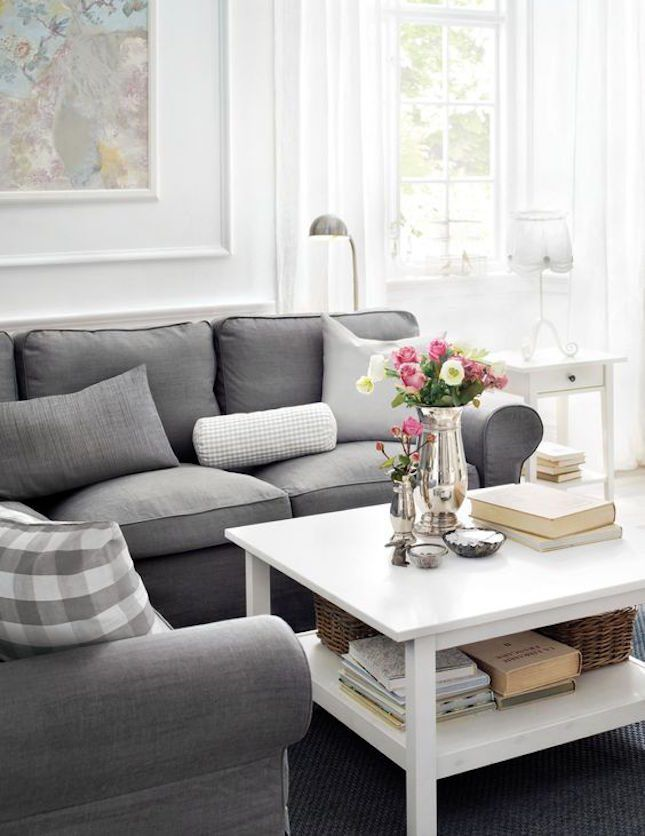 14 Surprisingly Chic IKEA Living Rooms Silver FlowersGray SofaLiving Room IdeasIkea