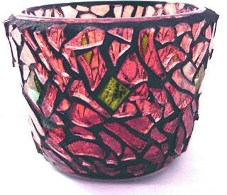 """Adam's Apple"" mosaic tea light candle holder - 2005 by Kevin McMahon @MosaicAvatar"