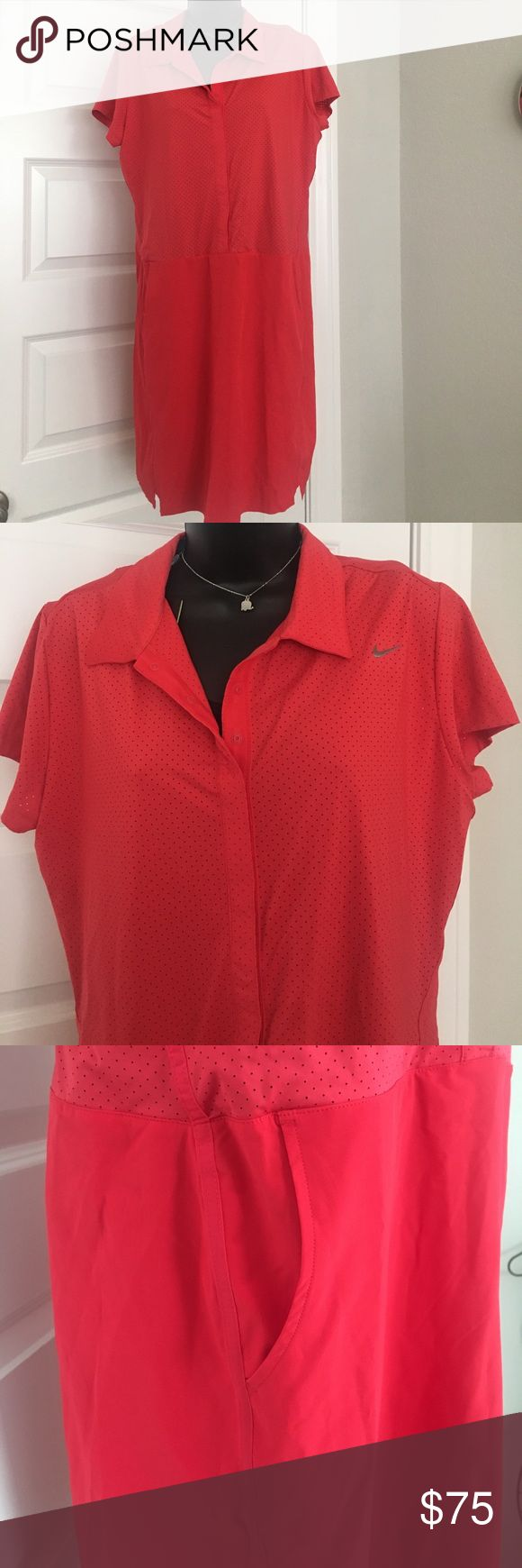 Nike Lady's Golf dress with detachable shorts Never worn. Button down front, side pockets and one back pocket. Nike Dresses