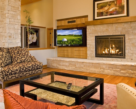 Fireplace with offset TV   For the Home   Pinterest   Room ...