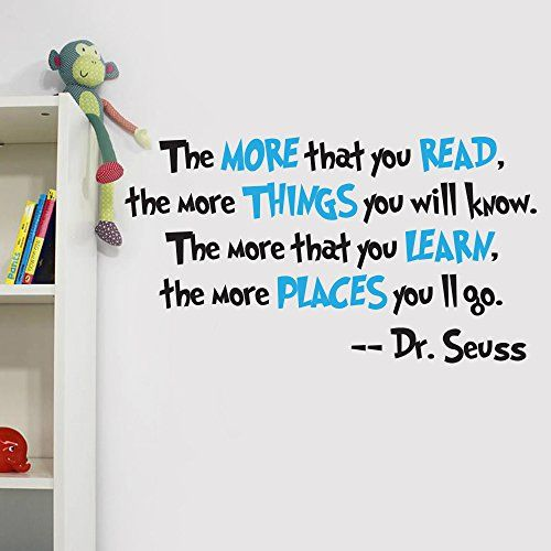V&C Designs Ltd (TM) Dr Seuss The More You Read Quote Children's Room Kids Room Playroom Nursery Wall Sticker Wall Art Vinyl Wall Decal Wall Mural for Reading Corner / Classroom V&C Designs Ltd http://www.amazon.co.uk/dp/B00SA7MDBO/ref=cm_sw_r_pi_dp_fv8Swb1W649DC