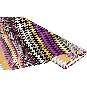 """Tissu jersey en viscose """"'zig-zag"""" avec de l'élasthanne, violet, bi-extensible, motif horizontal par rapport à la lisière.Composition : 96 % viscose, 4 % élasthannePoids : env. 165 g/m²Largeur : 140 cmCousez des t-shirts, hauts, jupes ou robes avec ce beau tissu. Le tissu est doux au toucher et fluide."""